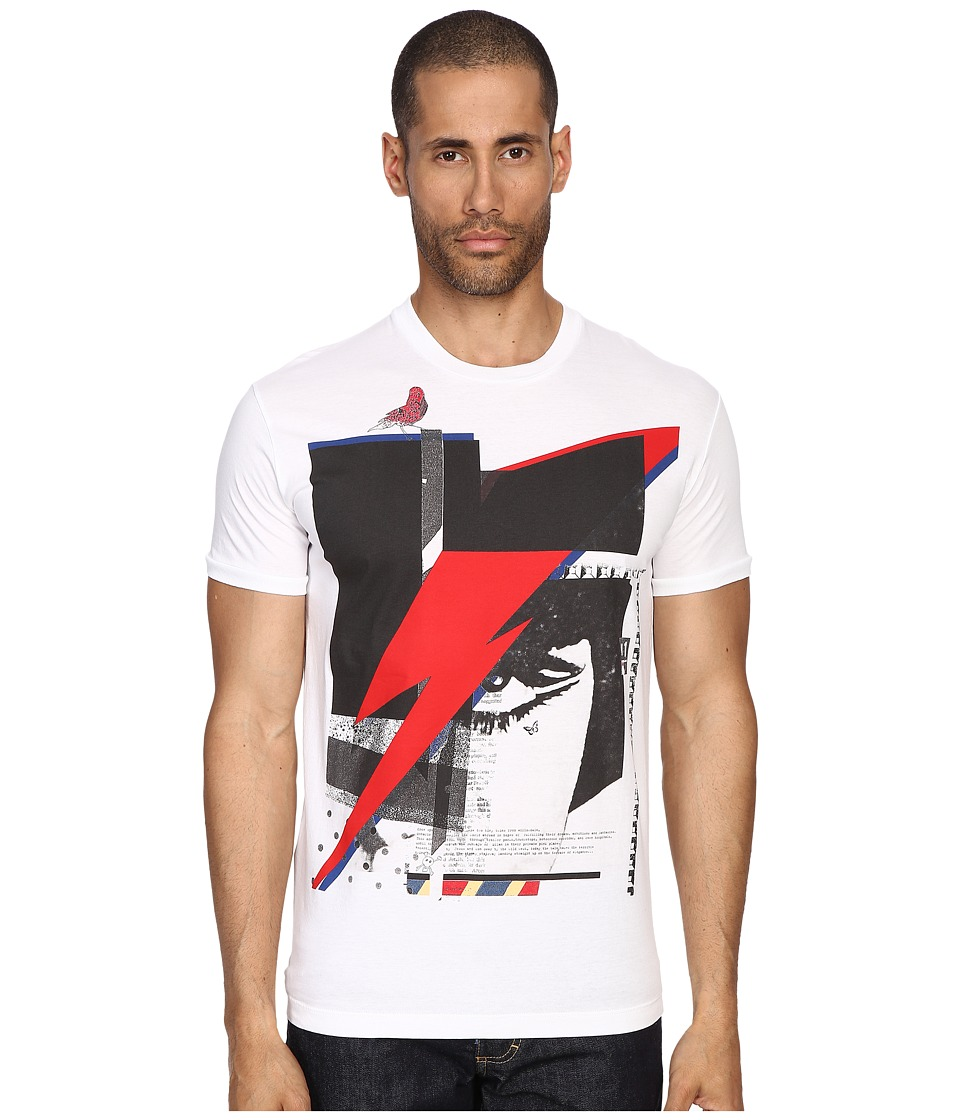 DSQUARED2 - Chic Dan Fit Soft Print Lightening T-Shirt (White) Men