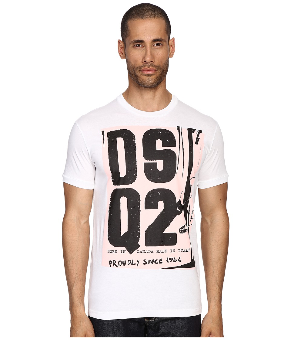 DSQUARED2 - Chic Dan Fit Soft Print Logo T-Shirt (White) Men