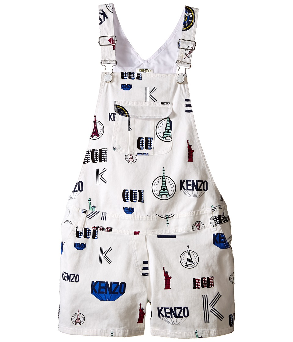 Kenzo Kids All Over Short Overall Little Kids/Big Kids White Girls Overalls One Piece