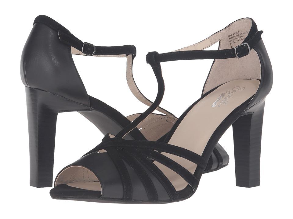 1930s Style Shoes Seychelles - Lap Black LeatherBlack Suede High Heels $100.00 AT vintagedancer.com