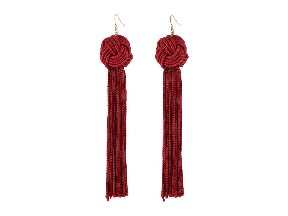 Vanessa Mooney Astrid Knotted Tassel Earrings Burgundy Earring