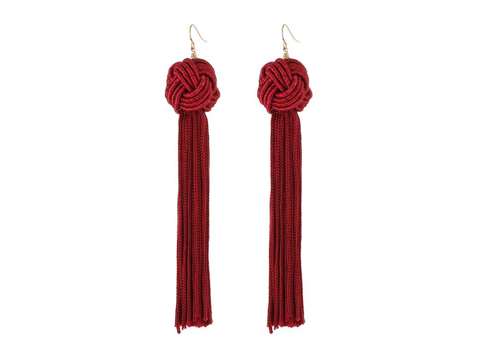 Vanessa Mooney Astrid Knotted Tassel Earrings (Burgundy) ...