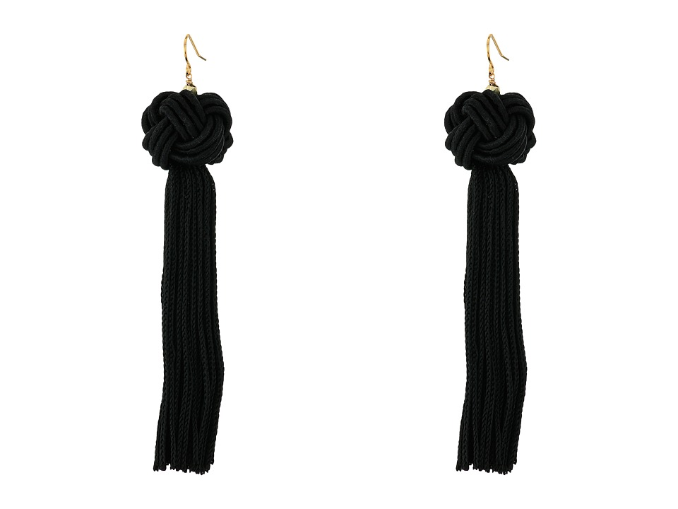 Vanessa Mooney Astrid Knotted Tassel Earrings Black Earring