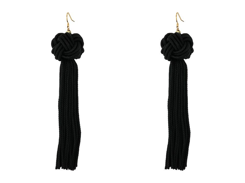 Vanessa Mooney Astrid Knotted Tassel Earrings Black Earring
