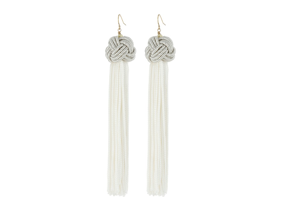 Vanessa Mooney Astrid Knotted Tassel Earrings Ivory Earring
