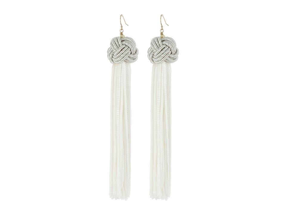 Vanessa Mooney Astrid Knotted Tassel Earrings (Ivory) Ear...