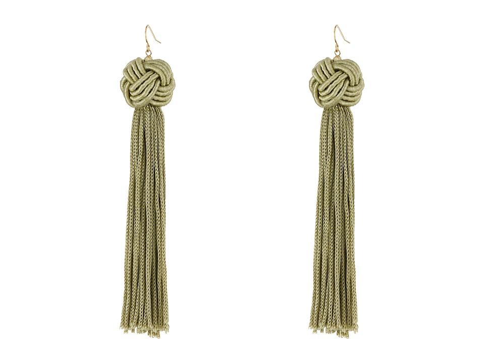 Vanessa Mooney Astrid Knotted Tassel Earrings Olive Earring