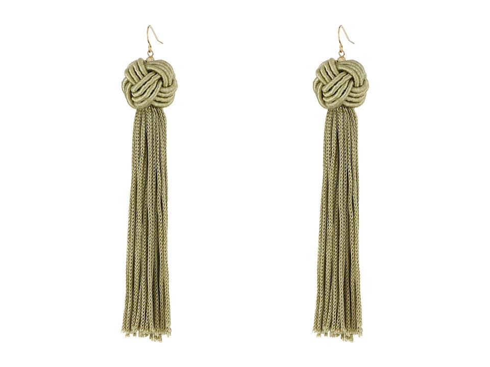 Vanessa Mooney Astrid Knotted Tassel Earrings Olive Earring