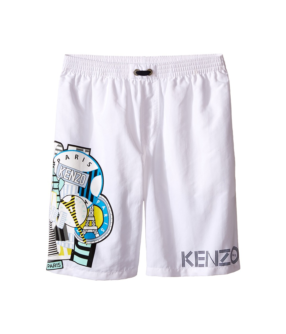 Kenzo Kids All Over Bathing Trunk Little Kids/Big Kids White Boys Swimwear
