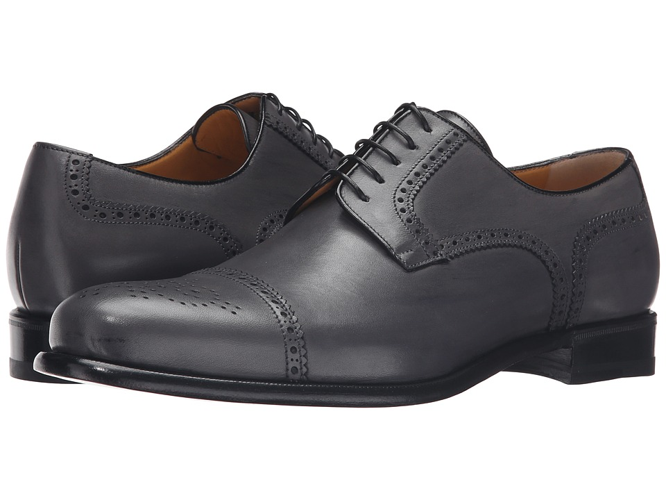 Image of a. testoni - Cap Toe Leather Medallion Oxford (Lead) Men's Shoes