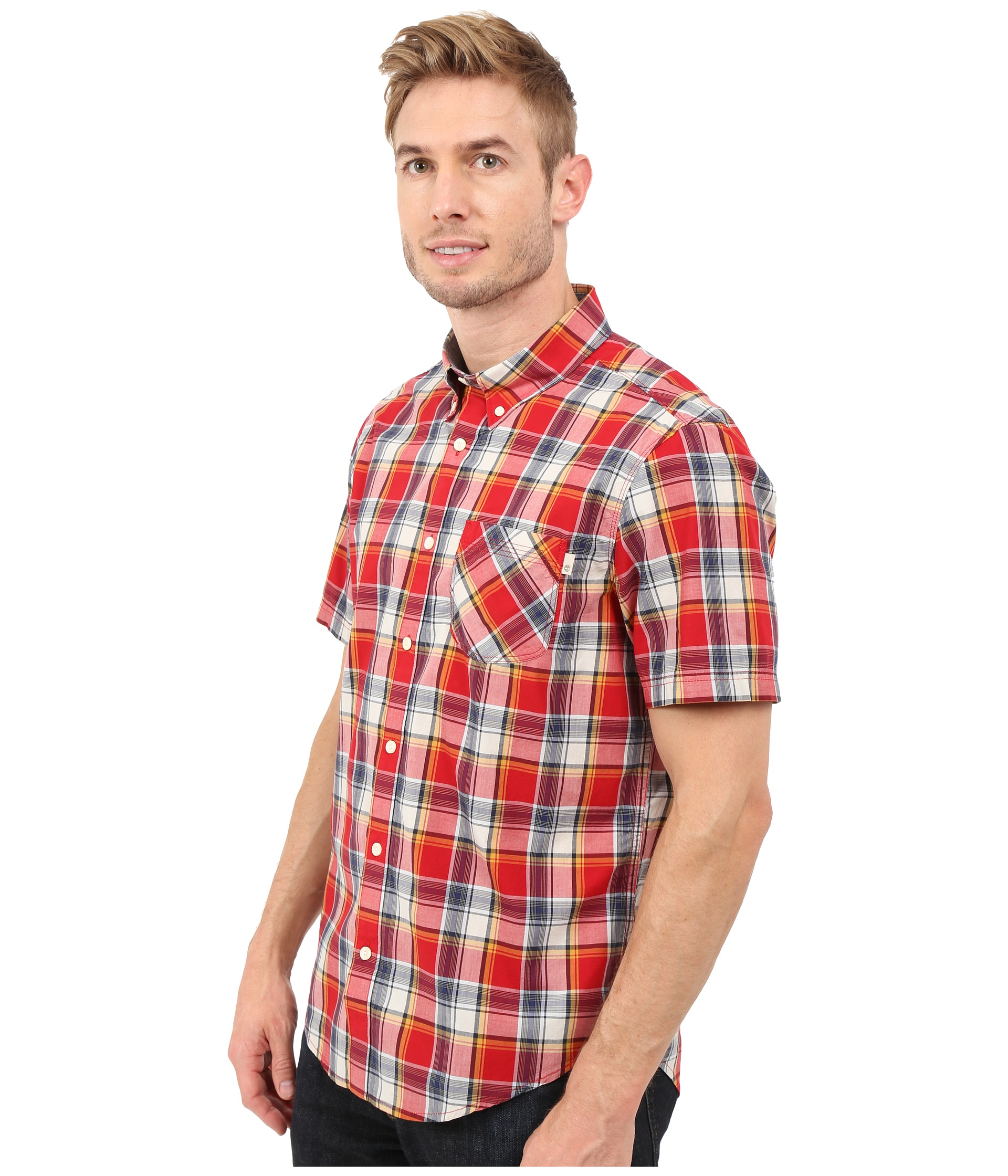 Timberland Allendale River Plaid Poplin Shirt Haute Red Yarn Dye - Zappos.com Free Shipping BOTH ...