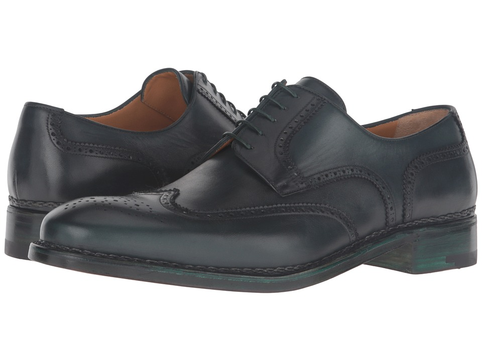 Image of a. testoni - Amedeo Testoni Hand Painted Wing Tip Oxford (Bottle Green) Men's Shoes