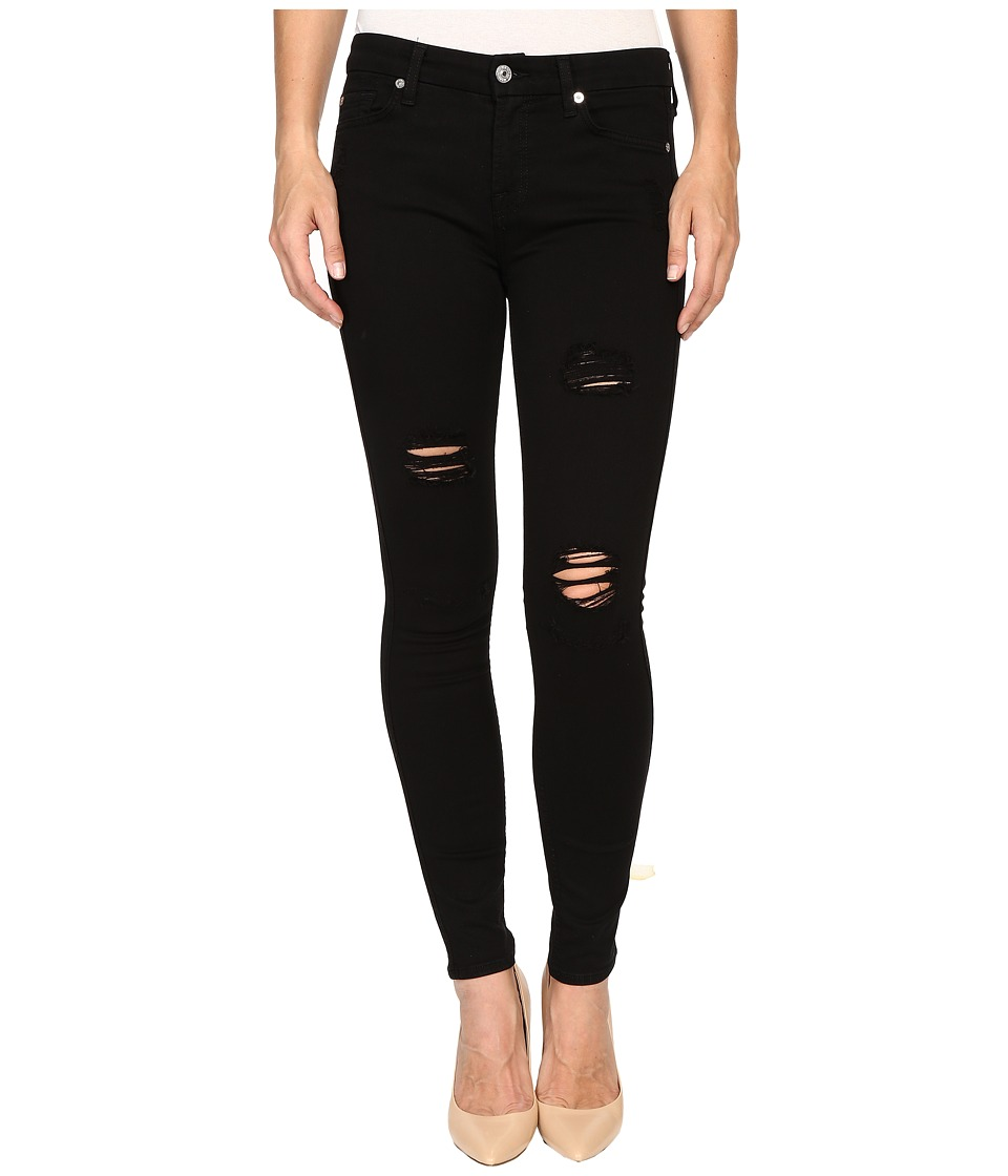 7 For All Mankind - Ankle Skinny w/ Destroy in Slim Illusion Luxe Black