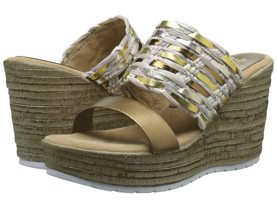 Sbicca Arroyo Gold Multi Womens Wedge Shoes