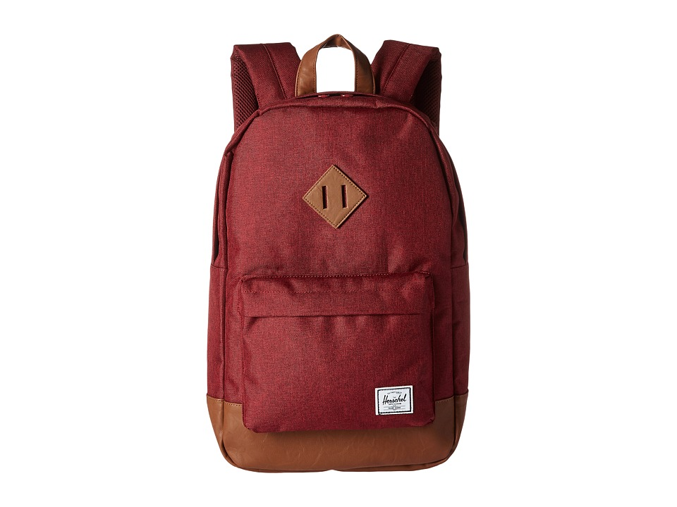 Herschel Supply Co. Heritage Mid-Volume (Winetasting Crosshatch/Tan Synthetic Leather) Backpack Bags