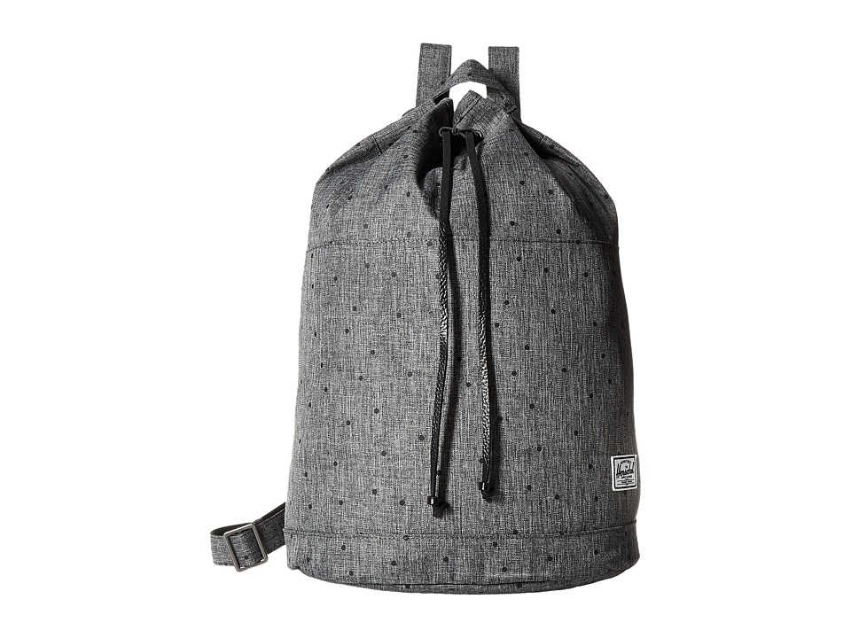 Herschel Supply Co. - Hanson (Scattered Raven Crosshatch/Black Pebbled Leather) Backpack Bags