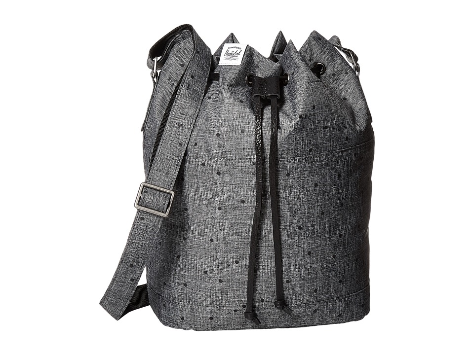 Herschel Supply Co. - Carlow (Scattered Raven Crosshatch/Black Pebbled Leather) Backpack Bags