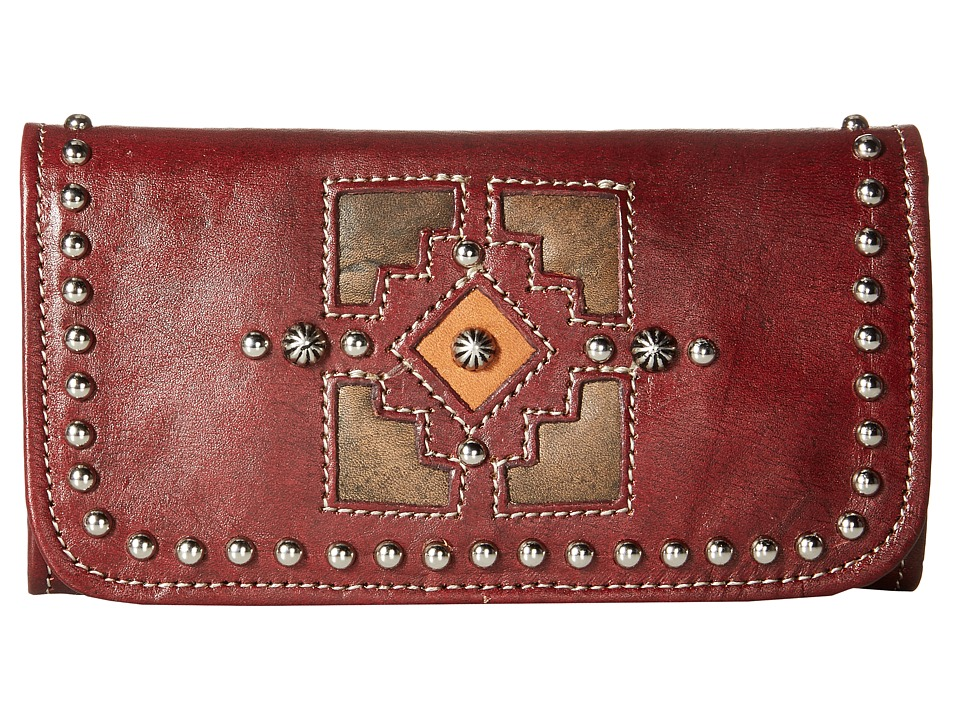 American West Annies Secret Collection Tri Fold Wallet Distressed Crimson/Distressed Charcoal Brown/Golden Tan Wallet Handbags