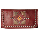 American West Annie's Secret Collection Tri-Fold Wallet (Distressed Crimson/Distressed Charcoal Brown/Golden Tan)