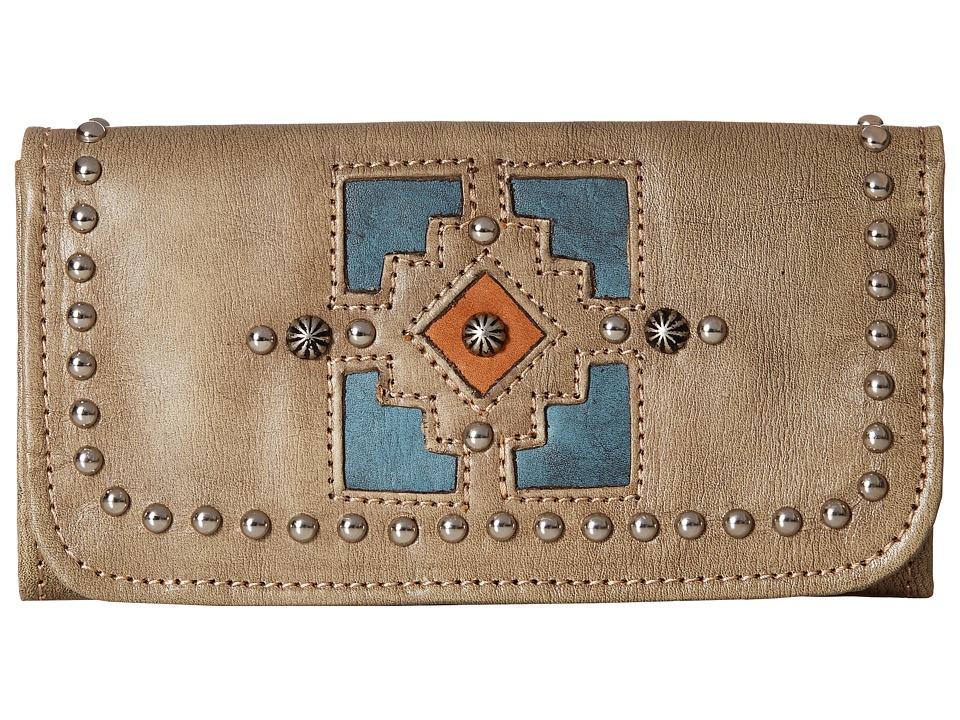 American West Annies Secret Collection Tri Fold Wallet Sand/Denim Blue/Golden Tan Wallet Handbags