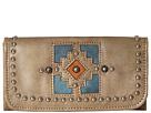 American West Annie's Secret Collection Tri-Fold Wallet (Sand/Denim Blue/Golden Tan)
