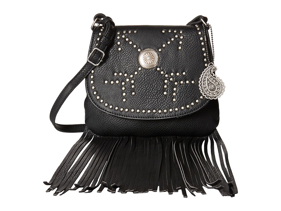 American West - Austin Fringe Flap Bag w/ Wallet (Black) Wallet Handbags