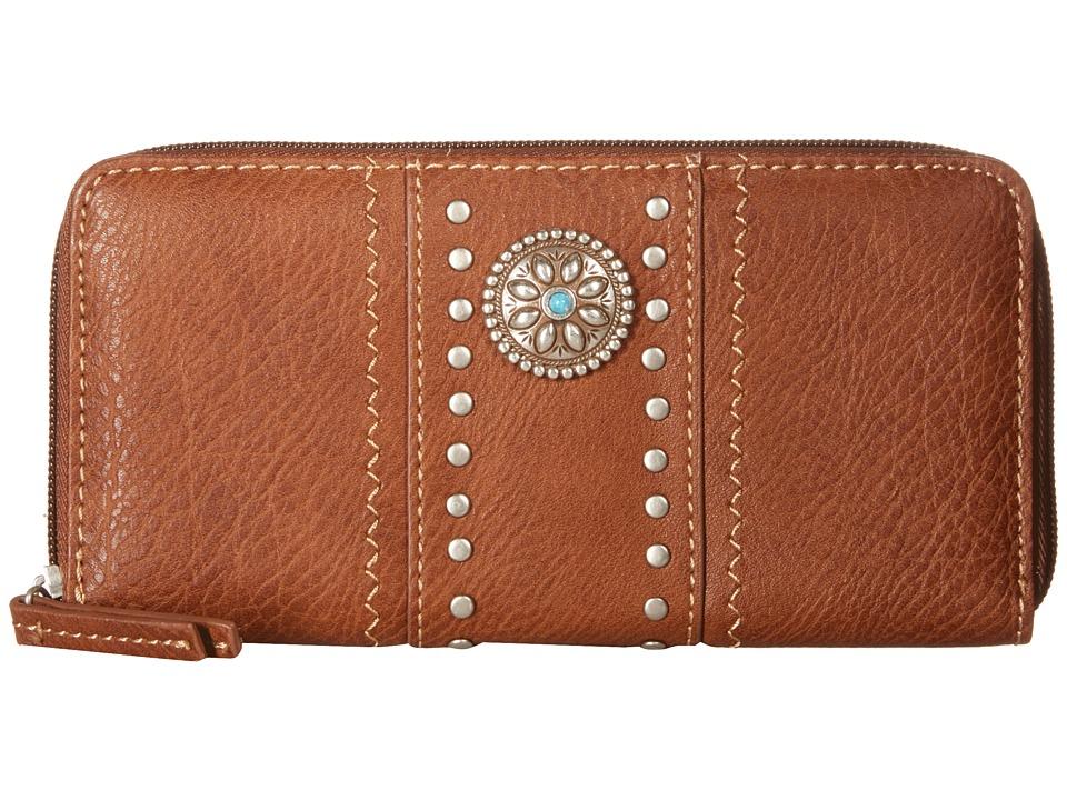 American West Rio Rancho Zip Around Wallet Brown Wallet Handbags