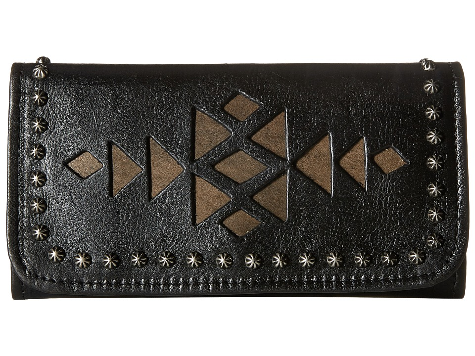 American West - Azteca Trifold Wallet (Black/Distressed Charcoal Brown) Wallet Handbags