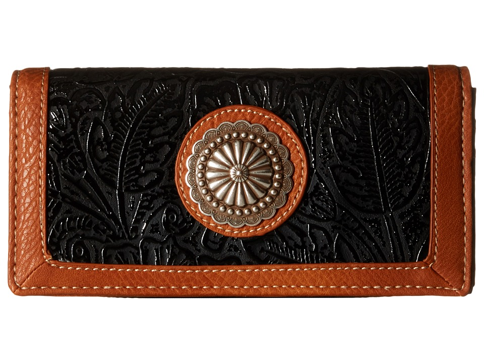 American West - Dallas Flap Wallet (Black) Wallet Handbags