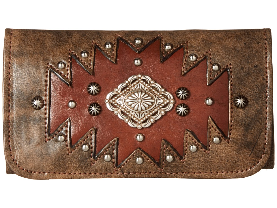 American West Annies Secret Collection Tri Fold Wallet Distressed Charcoal Brown/Chestnut Brown Wallet Handbags
