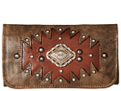 American West Annie's Secret Collection Tri-Fold Wallet (Distressed Charcoal Brown/Chestnut Brown)