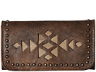 American West Azteca Trifold Wallet (Distressed Charcoal Brown/Sand)