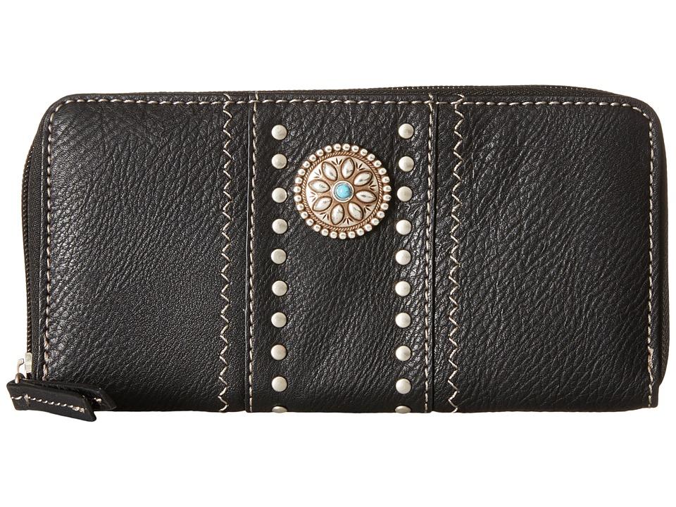 American West - Rio Rancho Zip-Around Wallet (Black) Wallet Handbags