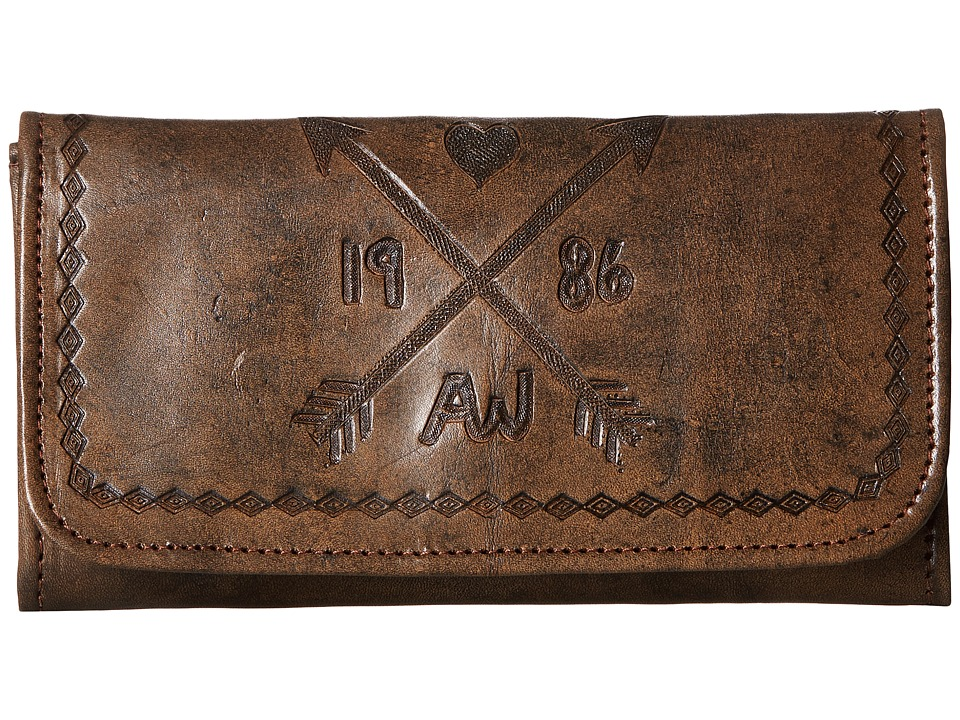American West - Cross My Heart Trifold Wallet (Distressed Charcoal Brown/Chestnut Brown) Wallet Handbags