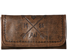 American West Cross My Heart Trifold Wallet (Distressed Charcoal Brown/Chestnut Brown)
