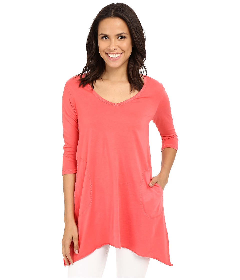 Allen Allen 3/4 Sleeve V Angled Tunic Begonia Womens Short Sleeve Pullover