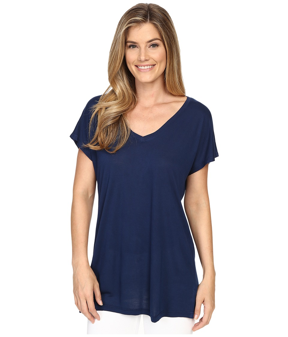 Allen Allen S/S V Neck Tee Lapis Womens Short Sleeve Pullover