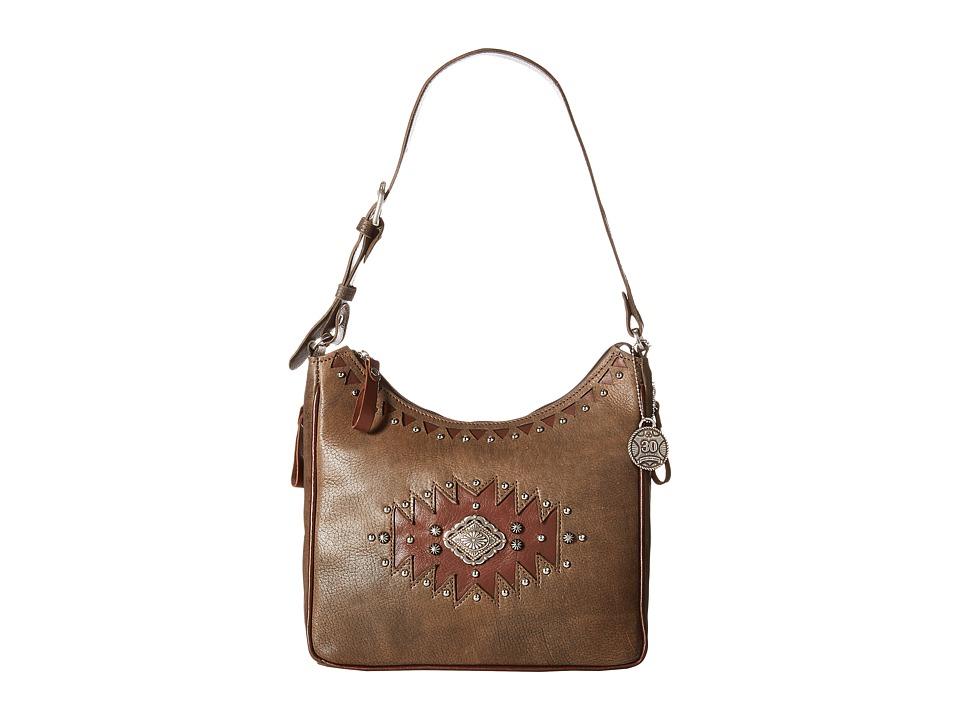 American West Annies Secret Collection Shoulder bag w/ Secret Compartment Distressed Charcoal Brown/Chestnut Brown Shoulder Handbags