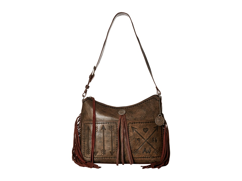 American West - Cross My Heart Zip Top Shoulder Bag (Distressed Charcoal Brown/Chestnut Brown) Shoulder Handbags