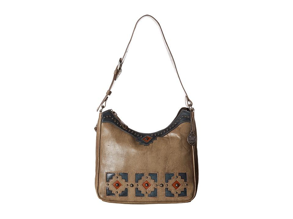 American West Annies Secret Collection Shoulder bag w/ Secret Compartment Sand/Denim Blue/Golden Tan Shoulder Handbags