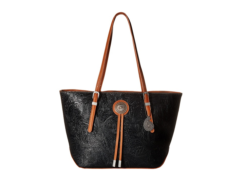 American West - Dallas Zip Top Tote (Black) Tote Handbags