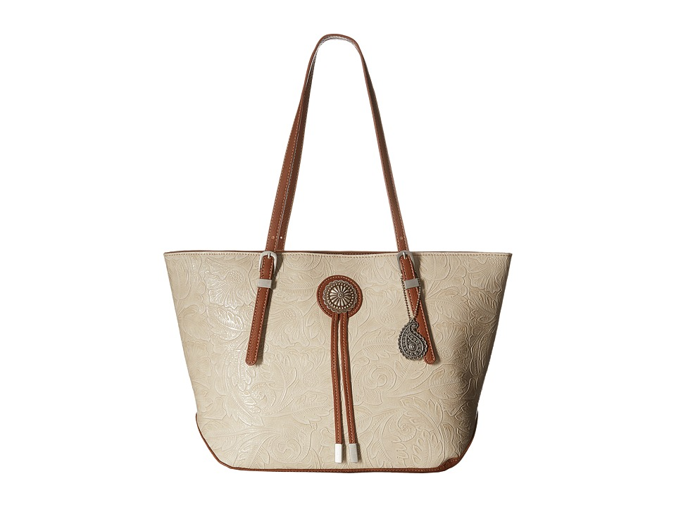 American West - Dallas Zip Top Tote (Cream) Tote Handbags