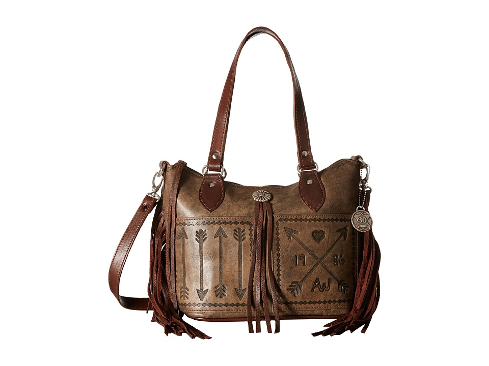 American West - Cross My Heart Convertible Zip Top Bucket Tote (Distressed Charcoal Brown/Chestnut Brown) Tote Handbags
