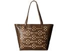 American West Azteca Zip Top Bucket Tote (Distressed Charcoal Brown/Sand)
