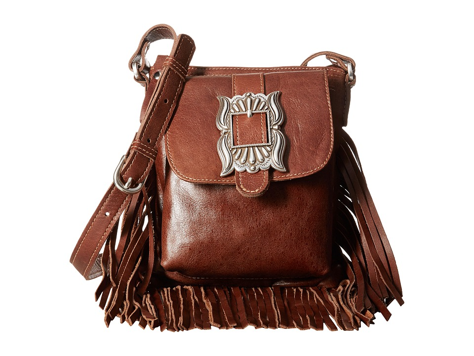 Image of American West - Eagle Feather Soft Crossbody Fringe Bag (Tobacco) Cross Body Handbags