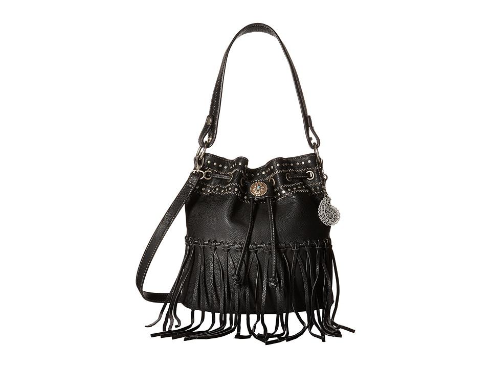 American West - Rio Rancho Drawstring Crossbody (Black) Cross Body Handbags