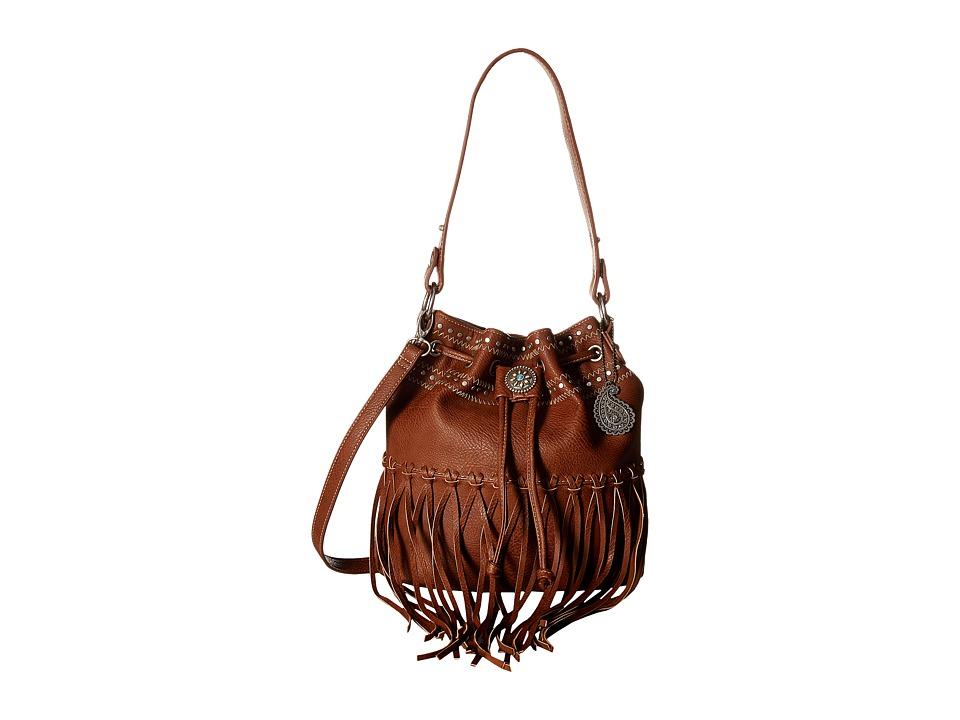 American West - Rio Rancho Drawstring Crossbody (Brown) Cross Body Handbags