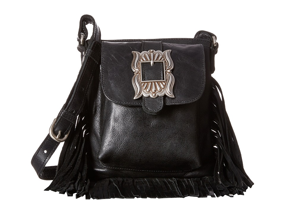 Image of American West - Eagle Feather Soft Crossbody Fringe Bag (Charcoal) Cross Body Handbags