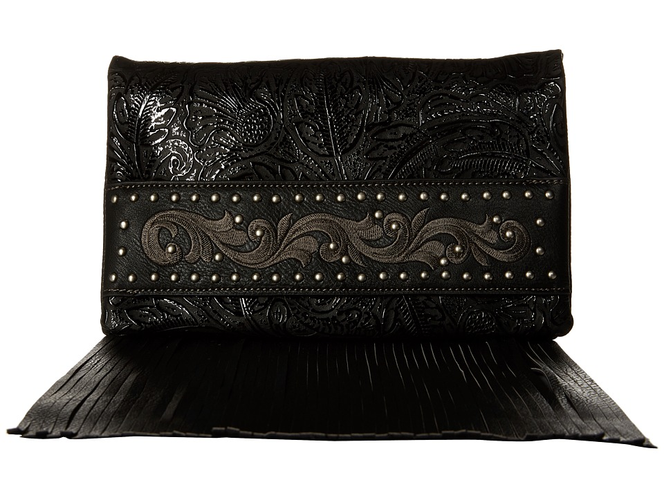 American West - Palo Alto Folded Clutch w/ Chain (Black) Clutch Handbags