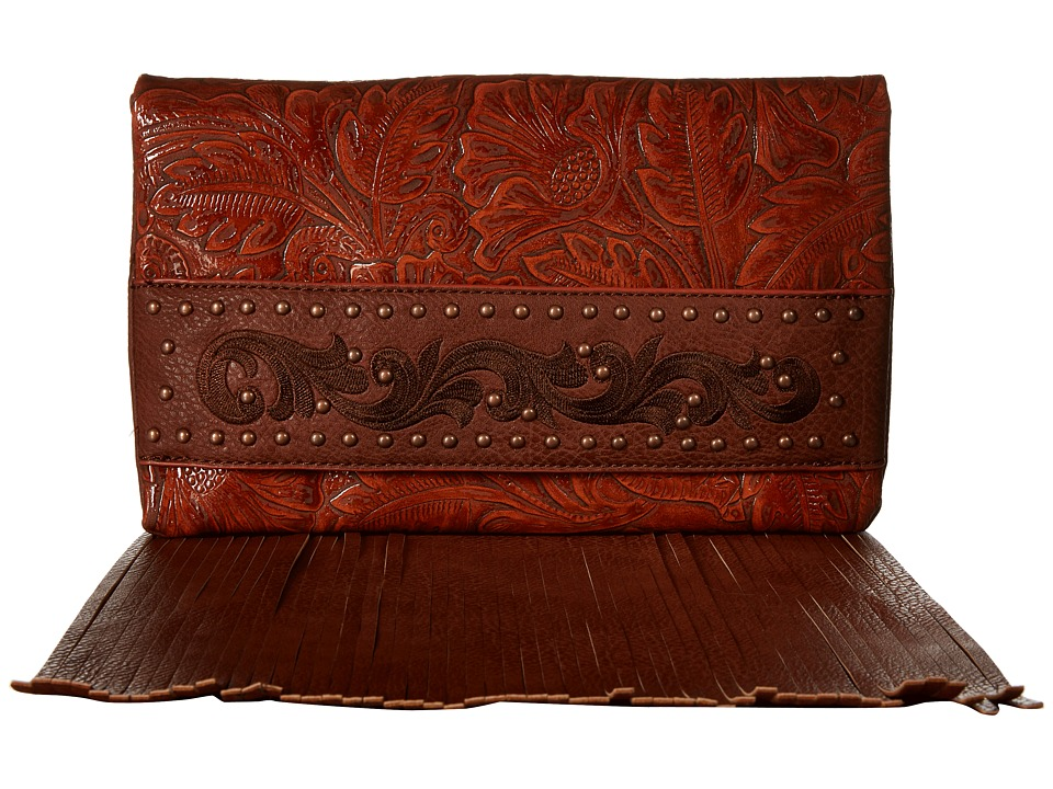 American West - Palo Alto Folded Clutch w/ Chain (Sunset Orange) Clutch Handbags